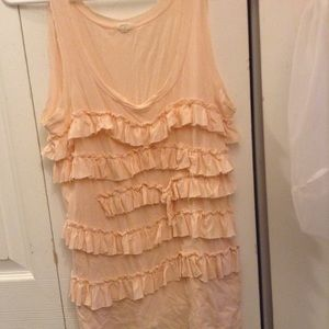 J Crew pink ruffle sleeveless top